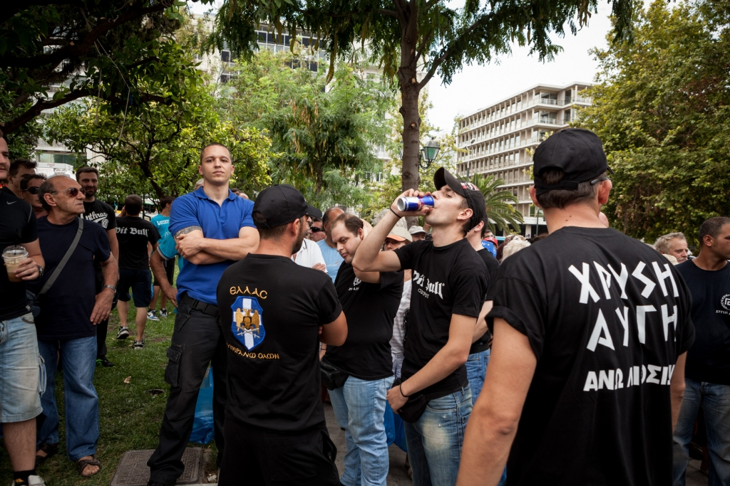 Ilias Kasidiaris of the extreme-right ultra nationalist party Golden Dawn (Chryssi Avghi).