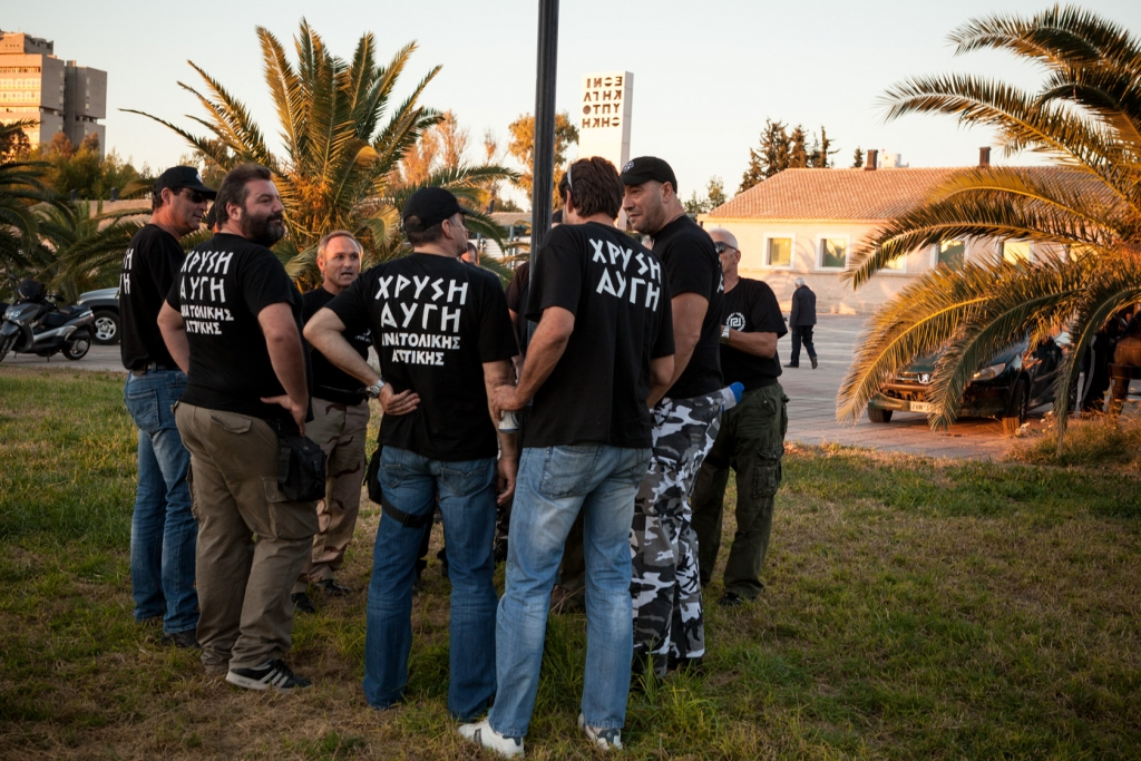 Members of the extreme-right ultra nationalist party Golden Dawn (Chryssi Avghi).