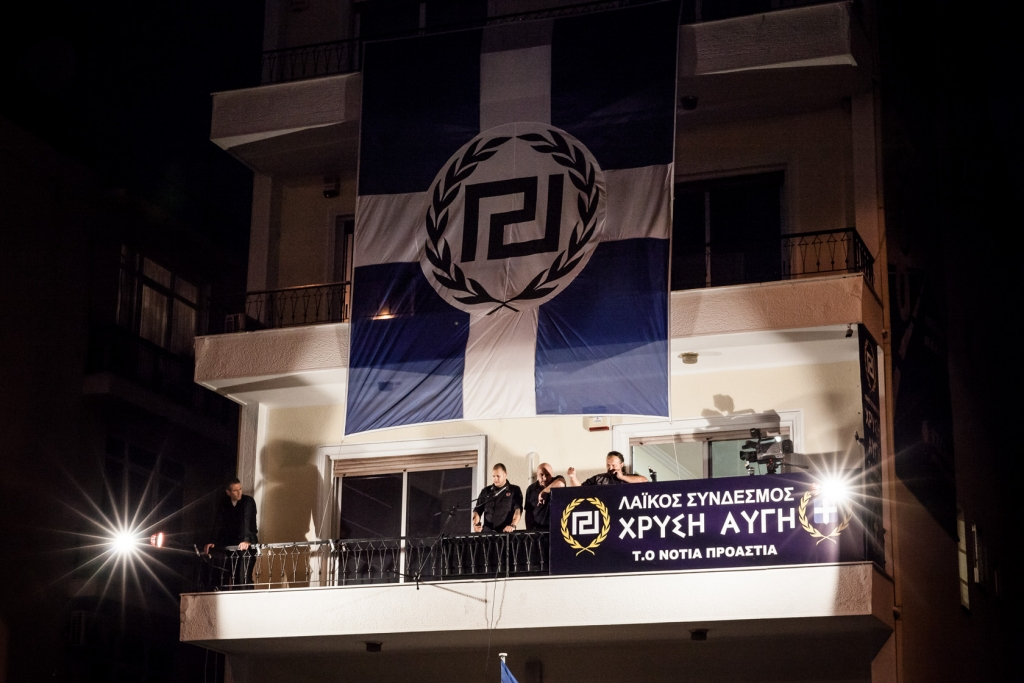 Inauguration of the extreme right Golden Dawn party headquarters in Faliro, Athens.