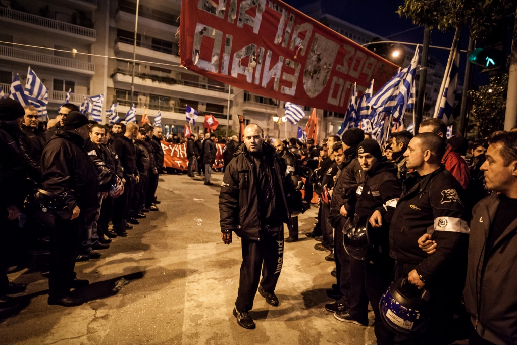 Members and supporters of the Greek ultra nationalist Golden Dawn party in central Athens