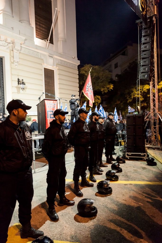Members of the Greek ultra nationalist Golden Dawn party during a meeting in central Athens.