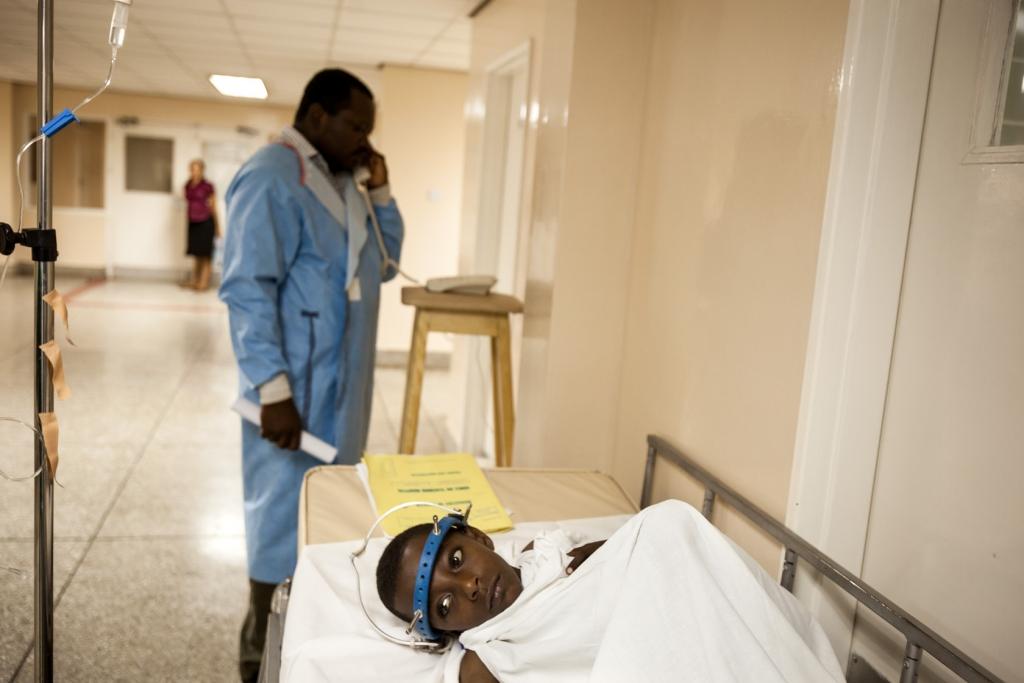 Desalegw Simsam, waits for his spinal operation.