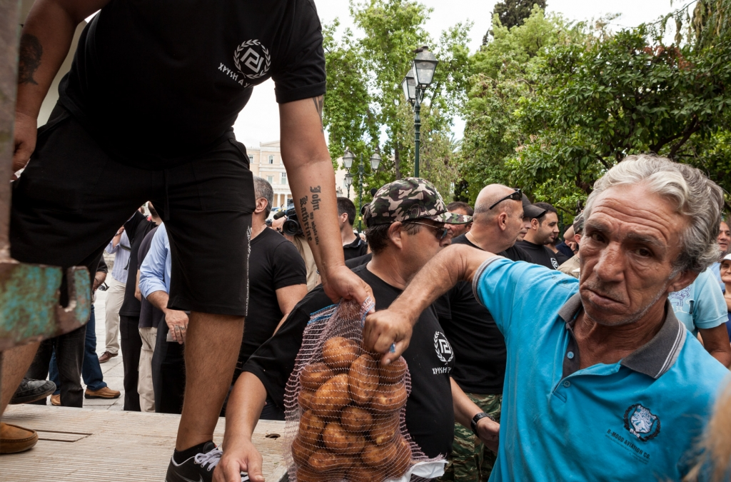 Food distribution from the extreme-right ultra nationalist Golden Dawn party.