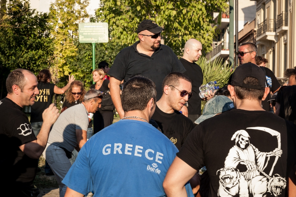 Ilias Kasidiaris (C), member of the Greek Parliament and spokesman of extreme-right ultra nationalist party Golden Dawn.